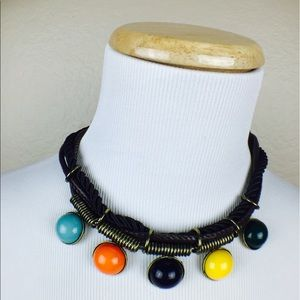 NEW Makarlon Indie Boho Color Charm Coil Collar Necklace Set Stud Earrings